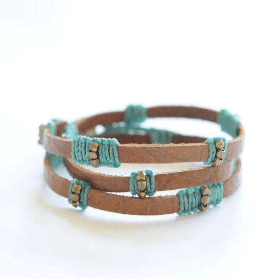 colorful macrame leather stripped wrap bracelet didi