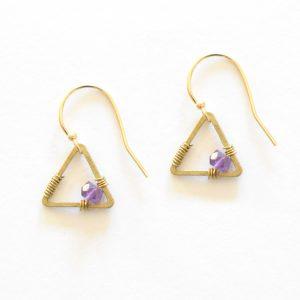 Amethyst Tiny Triangle Earrings