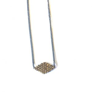 Diagonal Diamond Delight Necklace Brass