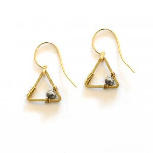 Pyrite Tiny Triangle Earrings